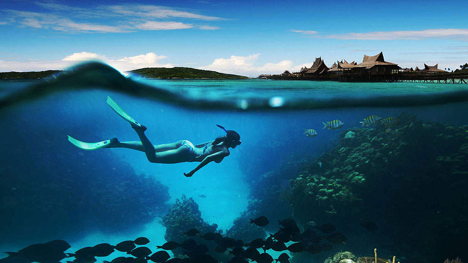 a beautiful lady in a bikini submerged in a blue ocean perfectly calm and looking at fish near the cave